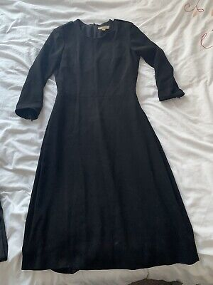 Ladies BURBERRY LONDON Black Long Fitted SKATER Dress Size UK 2