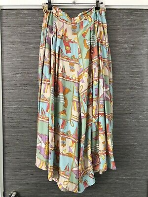 Vintage Flag Baroque Print Culottes Trousers Size 14 Chain Pastel Jazzy