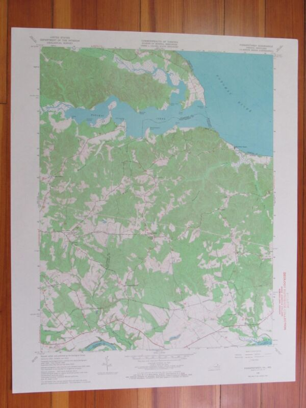 Passapatanzy Virginia 1968 Original Vintage USGS Topo Map