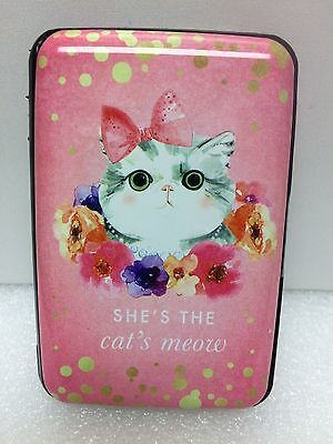 wallet RFID credit card case holder protection Shes the cat Meow pink 85128