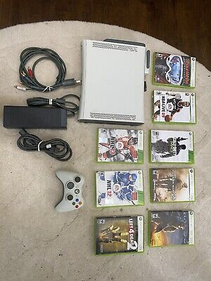 Xbox 360 Bundle 60GB White Console - Wireless Adapter, Controller, & Games