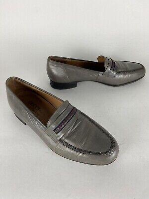 VINTAGE Men Shoes Gucci Coleccion Por. Rossi 1948 Sz. 8.5 Gray Braided Moc Toe