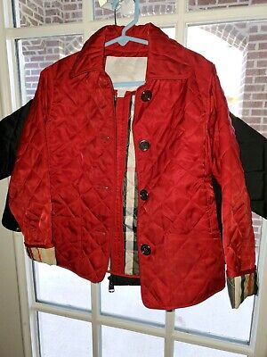 Burberry Kids Quilted Red Jacket Plaid lining & cuffs
