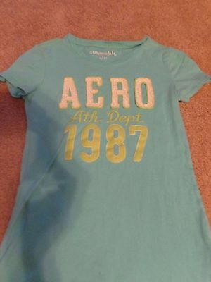 aeropostale t shirt LIGHT BLUE WITH CLOTH LETTERS SIZE - Clothing With Lights