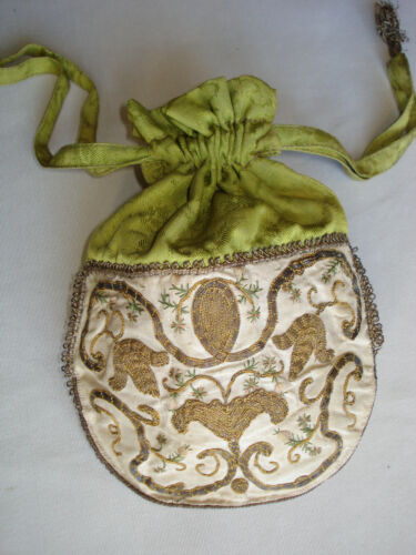 antique french georgian gold / silver embroidered silk purse - 18 th century