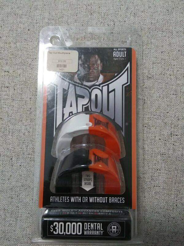 NEW TAPOUT EVER-MOLD ORANGE WHITE & BLACK ALL SPORTS MOUTHGUARD ADULT 12+ YRS