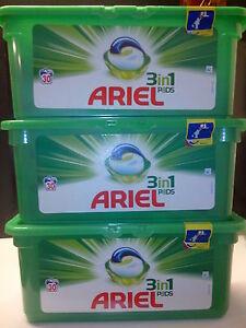 Lot de 3 boites de 30 doses Lessive ARIEL 3 en 1 Pods soit 90 lavages - France - État : Neuf: Objet neuf et intact, n'ayant jamais servi, non ouvert, vendu dans son emballage d'origine (lorsqu'il y en a un). L'emballage doit tre le mme que celui de l'objet vendu en magasin, sauf si l'objet a été emballé par le fabricant d - France