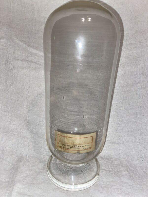"14"" Apothecary Torpedo Glass Bottle General Store Display Inverted Jar Antique"
