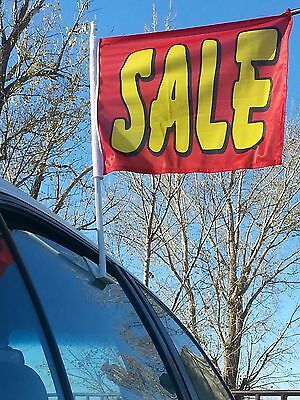 ~Free Shipping CAR DEALER LOT 16 WINDOW CLIP ON ADVERTISE FLAGS - SALE rd/yellow