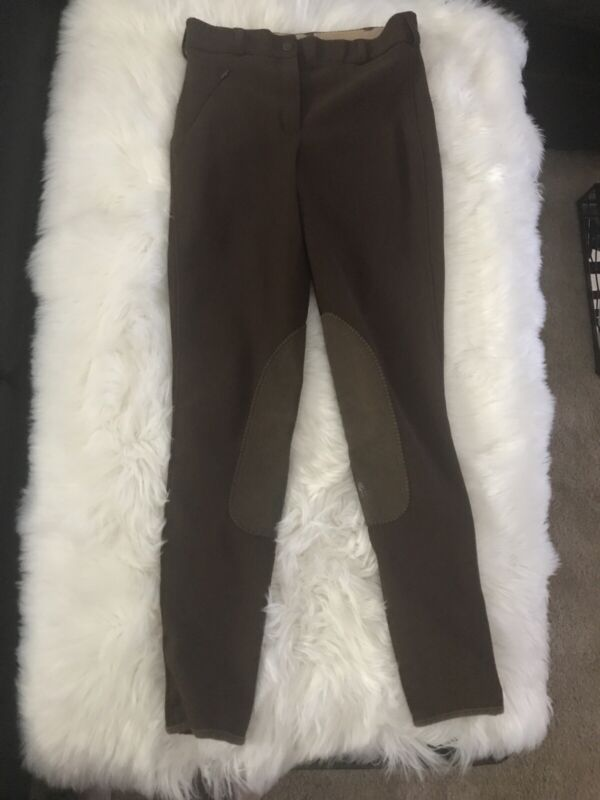 MARYS TACK & FEED Horse  Riding  Brown Pants ~ Knee Patches Size  26 Length Long