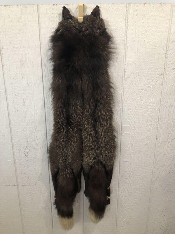 Vintage Double Silver Fox Fur Scarf (Stole/Wrap), Long