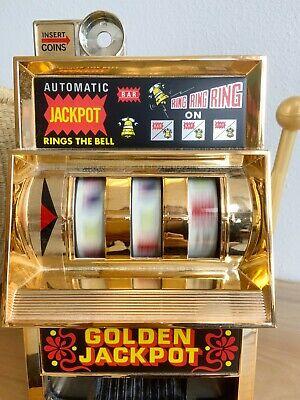 Vintage WACO Golden Jackpot Slot Machine Mechanical Metal Toy Japan Works!