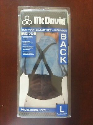 Lightweight Back Support - McDavid Lightweight Back Support With Suspenders- Large: Waist Size 36-52