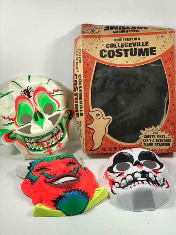 Lot (x3) Ben Cooper Collegeville Halloween Costume Masks Skull Devil Skeleton