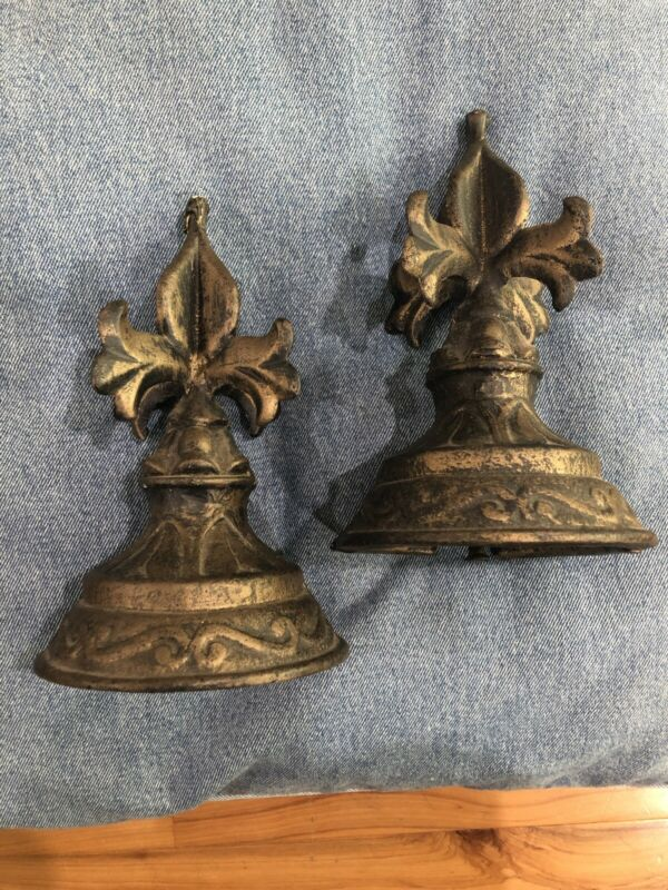 LOT 2 Cast Iron Steeple Fence Finials Architectural Ornate Round Post Toppers