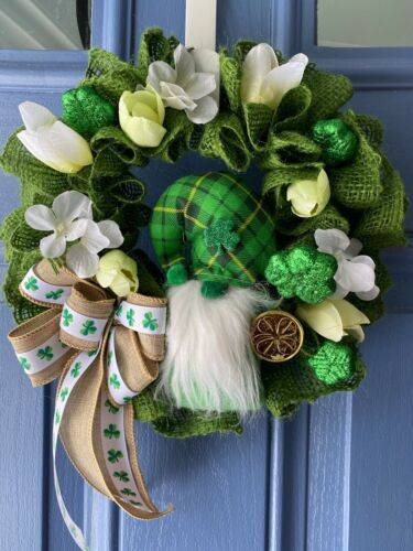 St Patrick's Day Leprechaun Gnome Green Ruffled Burlap Hydrangea Tulip Wreath