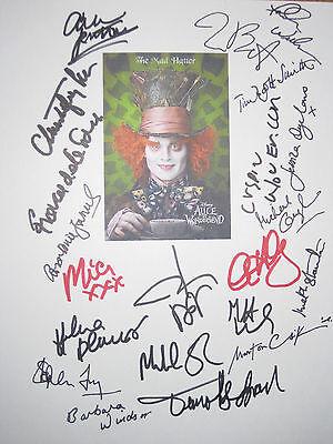 Alice in Wonderland Signed Film Script X21 Johnny Depp Tim Burton Glover reprint