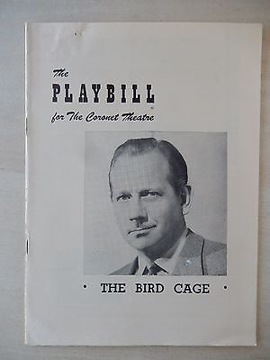 March 1950 - Coronet Theatre Playbill - The Bird Cage - Melvyn Douglas