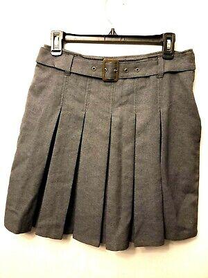 French Toast Uniform Skirt Size 16 Pleated Gray Belt Retro School Girl