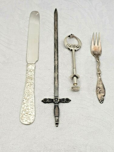 Vintage Mixed Lot of 4 Interesting Silverplate Pieces Knife Marked Tiffany  9022