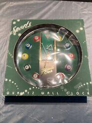 Sports Billiards Clock Quartz Movement Battery Operated Wall Clock New in Box