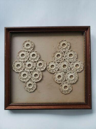 """Antique Framed Crochet Doilies 10"""" x 11"""""""