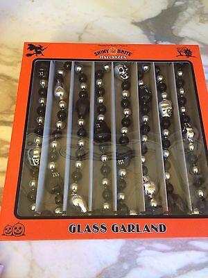 Radko Shiny Brite Halloween Skull Beaded Glass Garland New in Box!