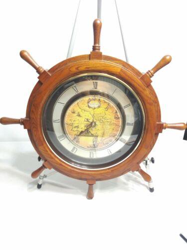 "Rhythm Small World Voyager Classic Nautical Ship Wheel Musical Motion Clock 25"""