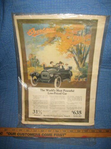 Large Original Vintage Overland Car Automobile Print AD Circa 1920, 15 x 10 1/2