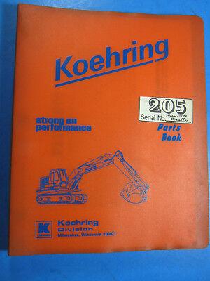 Koehring 205-2b Crawler Crane Parts Book Catalog
