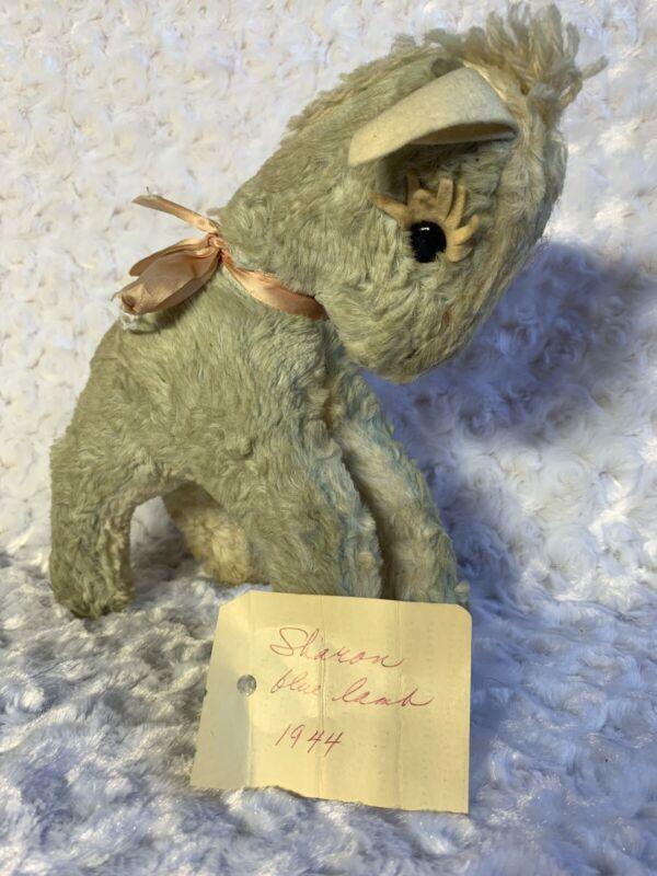 1944 Vintage Baby Donkey Plush Stuffed Animal Blue Toy