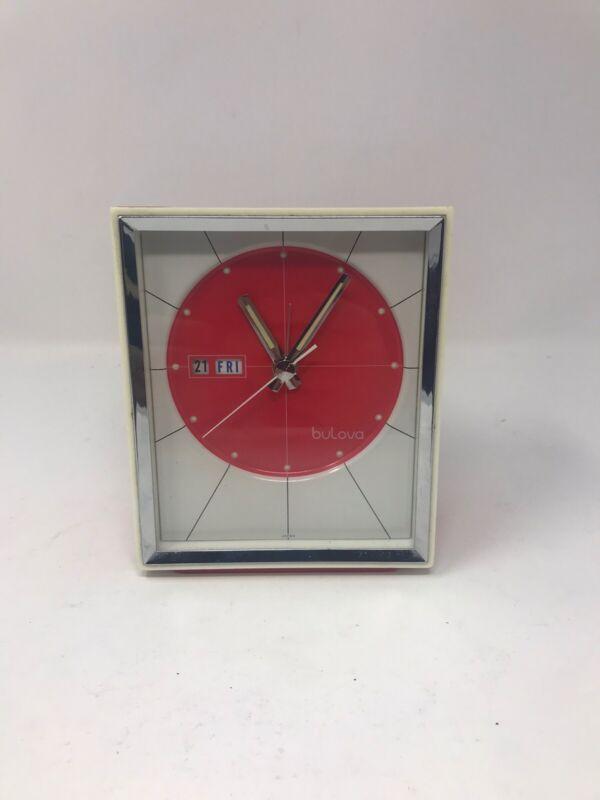 Vintage Retro Red Bulova Table Clock 51103 Japan Alarm Clock Working