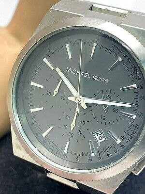Michael Kors Men's Watch MK8337 Channing Grey Dial Stainless Chronograph USED