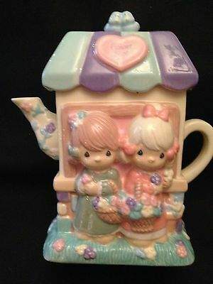 "Precious Moments ""Flower Shop"" Teapot Figurine By Houston Harvest Spring Flowers"