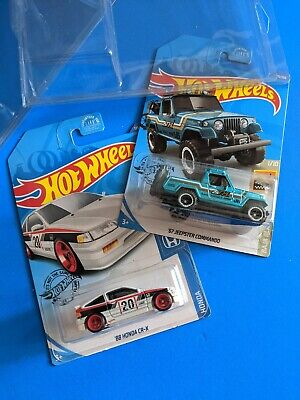 Hot Wheels 88 Honda-Crx 67 Jeepster Super Treasure Hunt w/ protectors Lot of 2
