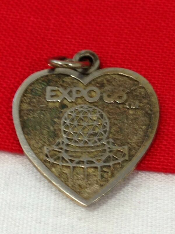 """Vintage Exposition EXPO 1986 Silver Pendant or Charm SIGNED """"SOSTS"""" Vancouver"""