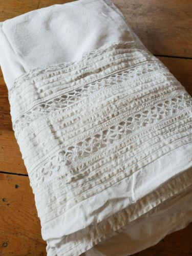 Antique Vtg LINEN Pintucks Lace Bed Sheet Blanket Cover 62x74 buttonholes