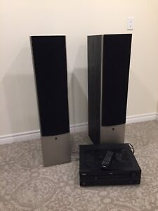 Athena tower speakers with home theatre receiver