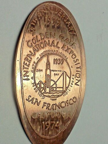 1939 GOLDEN GATE INTERNATIONAL EXPO 35TH ANN 1974-Elongated / Pressed Penny G509
