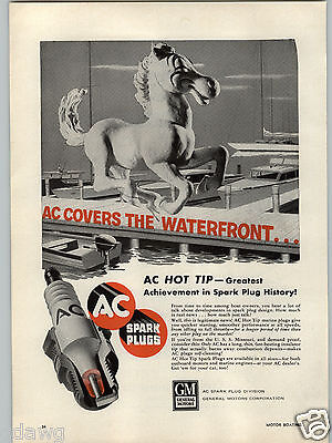 1955 Paper Ad Ac Spark Plugs Hot Tip Marine Self Cleaning