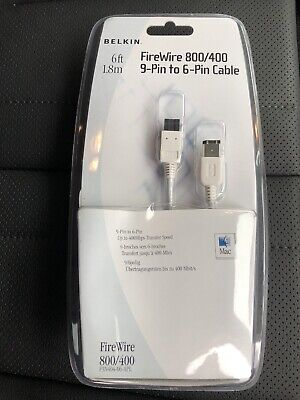 BELKIN FIREWIRE 800/400 9-PIN TO 6-PIN CABLE - 6FT/1.8M LONG.