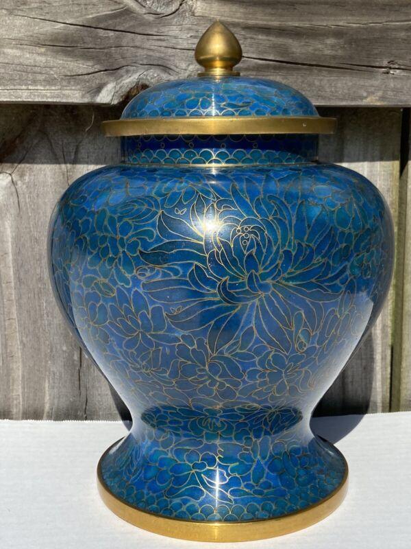 """Vintage Clossione Temple Jar Urn Ginger Blue Lotus Flower 9.5"""" Enamel"""