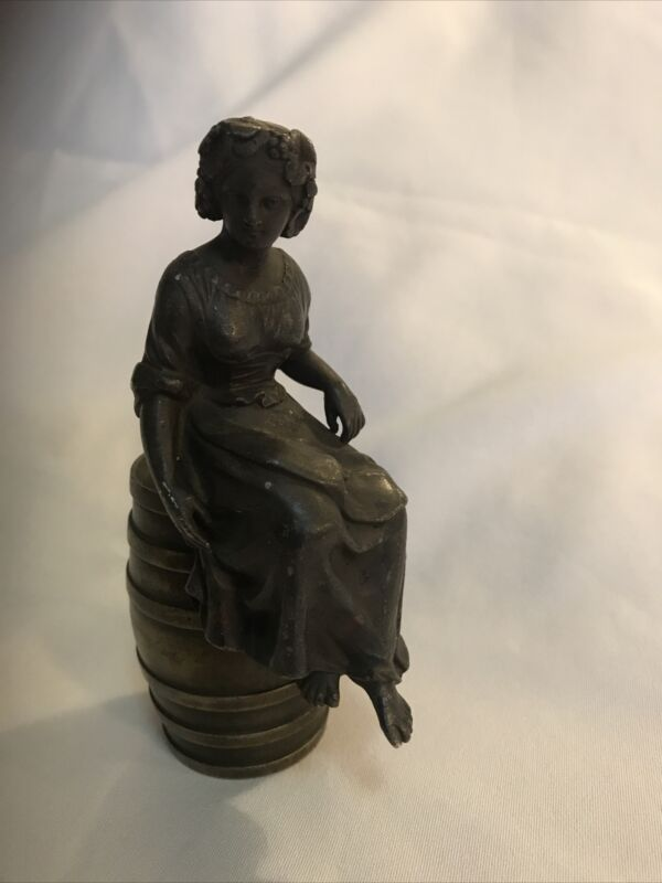 Antique Bronze Statue Of Lady Seated On Barrel W/ 5 Farthing Coin On Bottom 1847