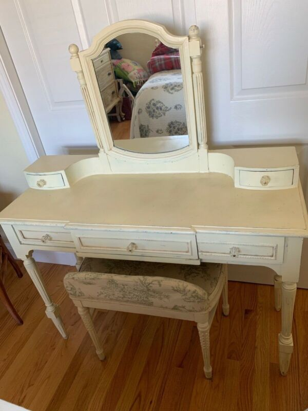 Antique French Shabby Chic Vanity with Chair