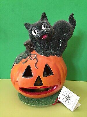 Ino Schaller Halloween (Ino Schaller 1999 Paper Mache Halloween Black Cat on JOL Pumpkin Lantern)