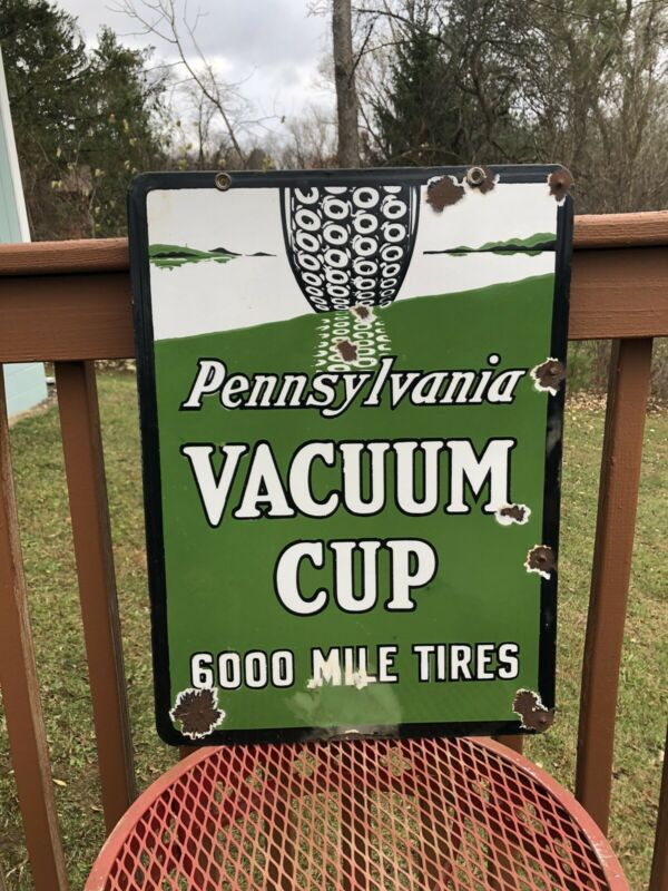 1920s/30s Double Sided Porcelain Original Pennsylvania Vacuum Cup Tires Sign Gas