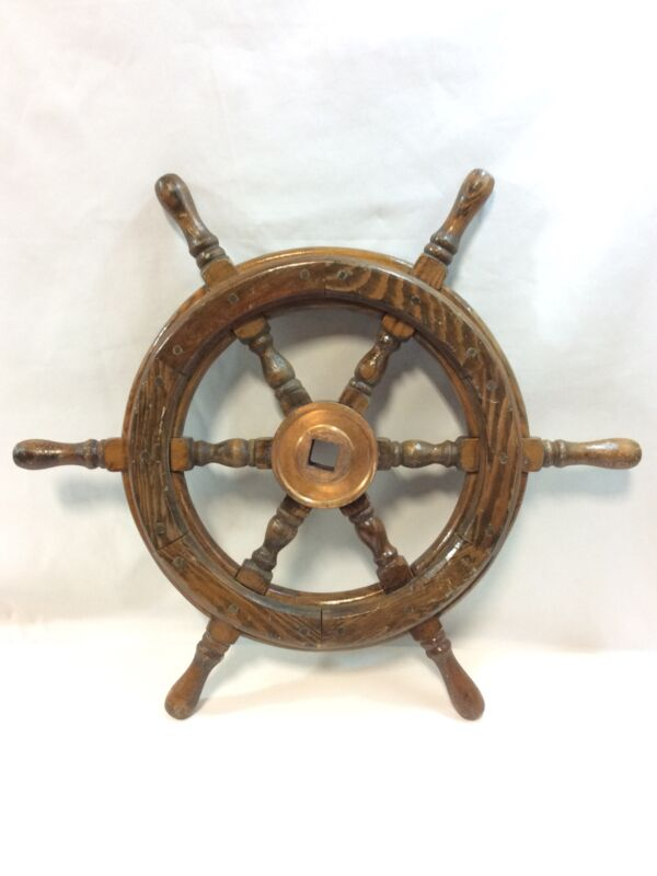 Vintage Boat Ship Steering Wheel Wooden Decor Nautical 18in.