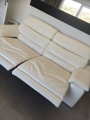 cream leather sofa used
