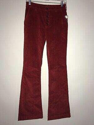 NEW Free People Red Velvet Slim Flare Trouser Pants Size 26 27 28