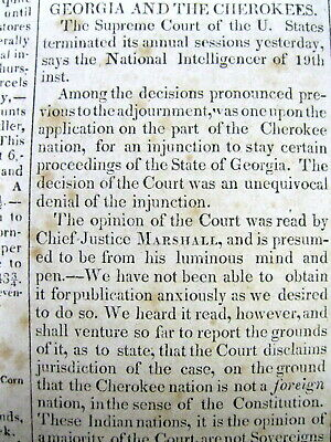 Best 1831 newspaper w US Supreme Court decision GEORGIA v CHEROKEE INDIAN NATION